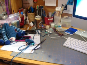 Just my messy, cluttered desk/workspace!