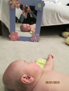 Likes watching me in the mirror
