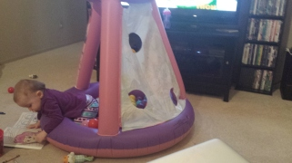 She can physically move her ball pit around the room now.