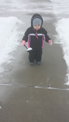 Playing out in the snow for the first time.